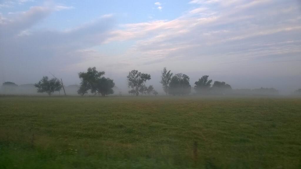 Ködös reggel Esztergom térségében 2016. augusztus 6-án, pénteken reggel