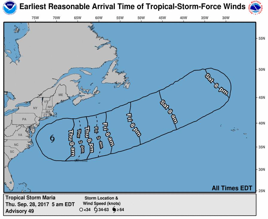 A Maria hurrikán várható útvonala és szélerőssége a Nemzeti Éghajlati Adatközpont előrejelzése alapján